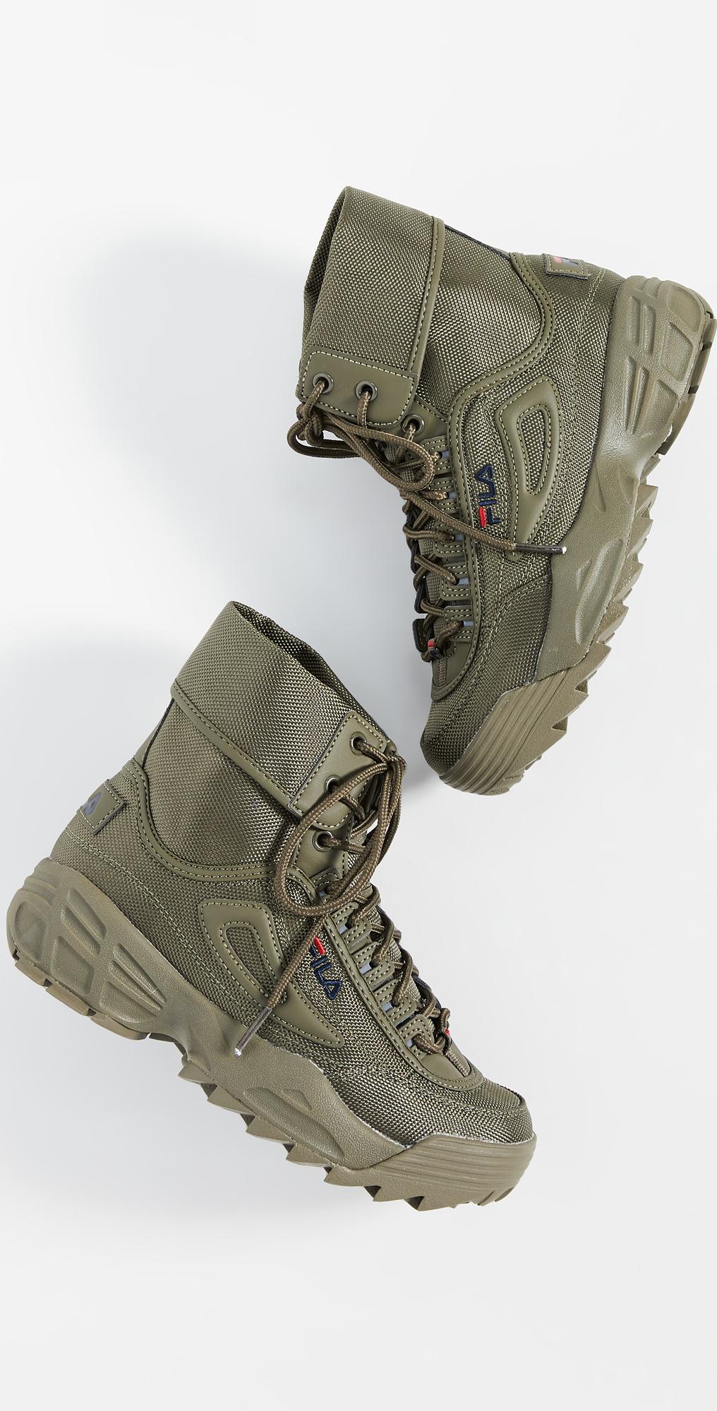 olive green fila shoes