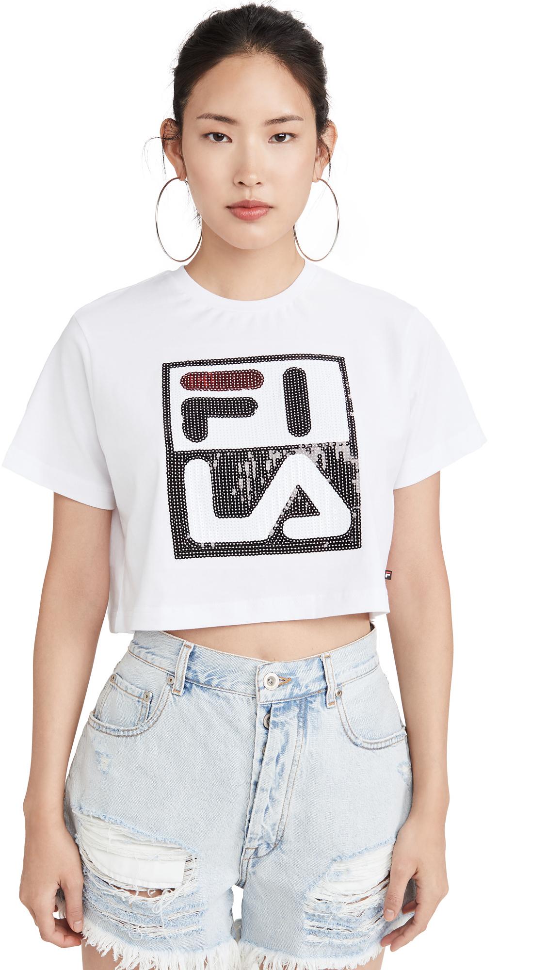 Buy Fila online - photo of Fila Ava Crop Sequin Tee
