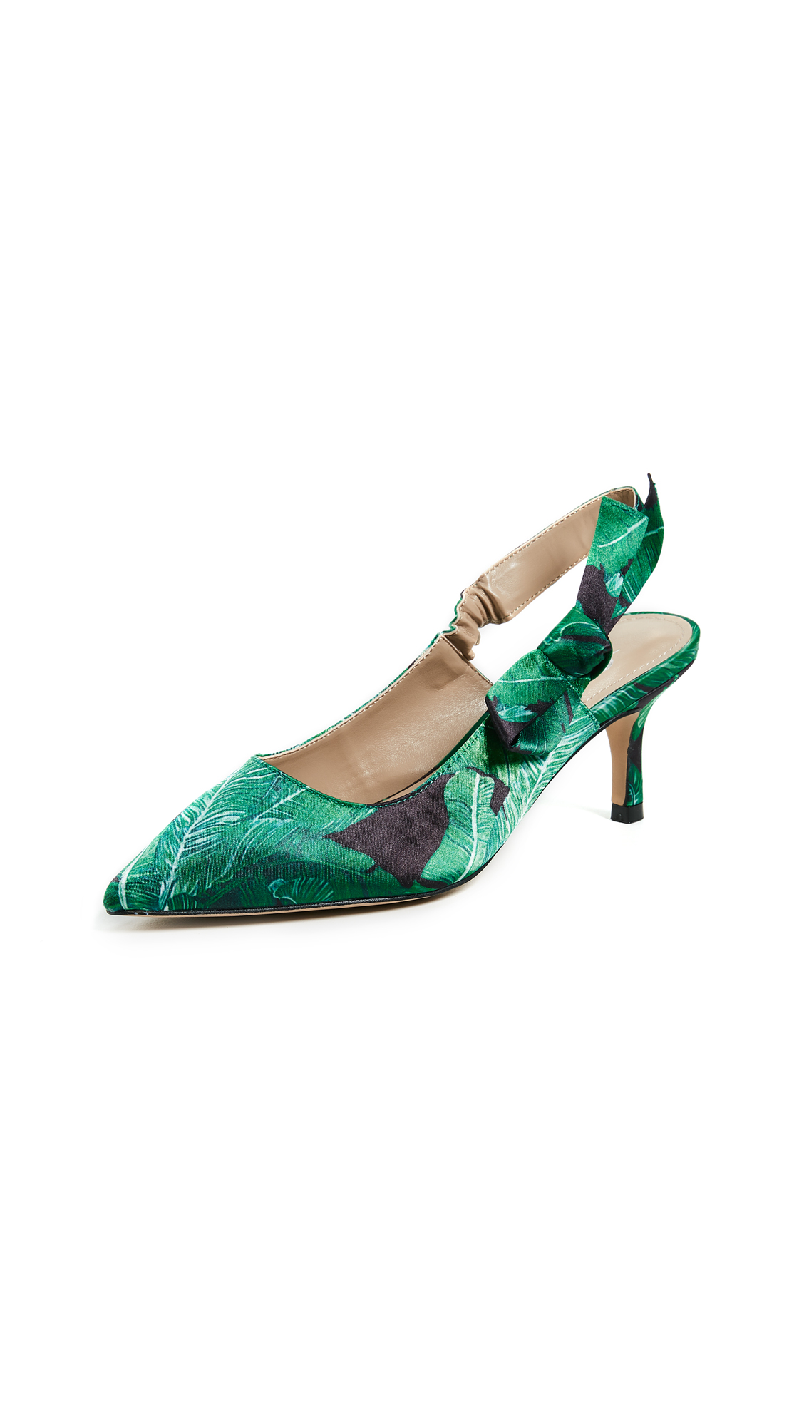 The Fix Fatina Slingback Pumps - Emerald/Palm Print