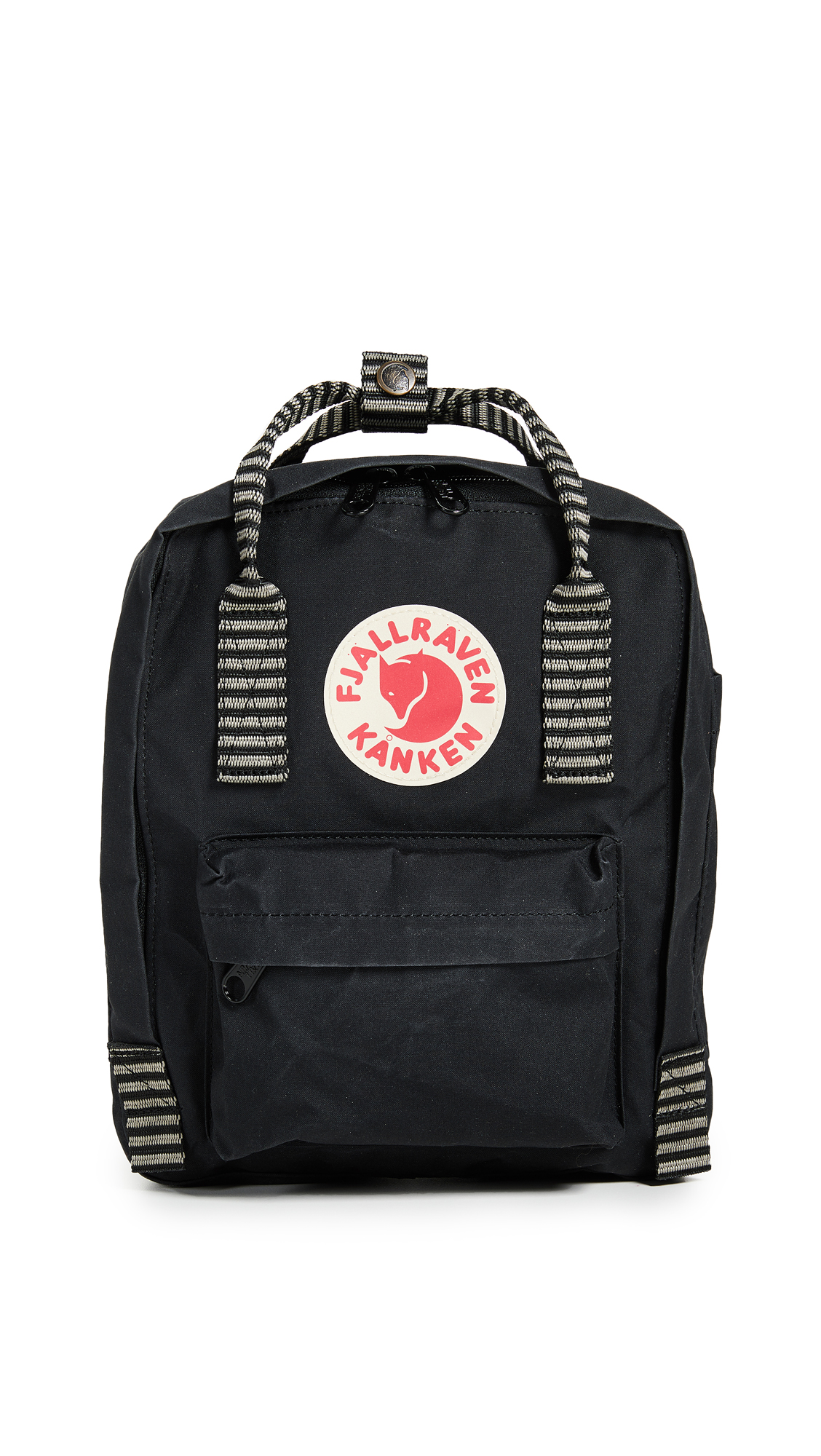 FJALL RAVEN Kanken Mini Backpack in Black/Striped