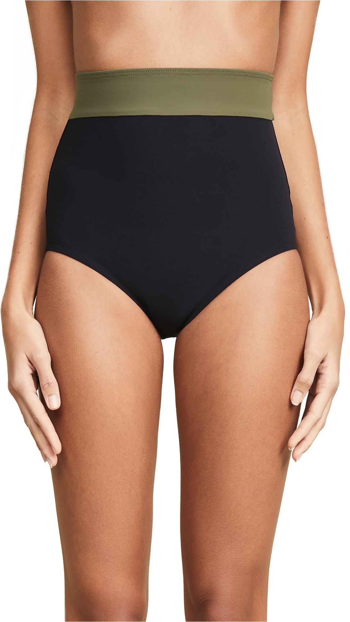 FLAGPOLE Arden High Rise Bikini Bottoms in Black/Olive