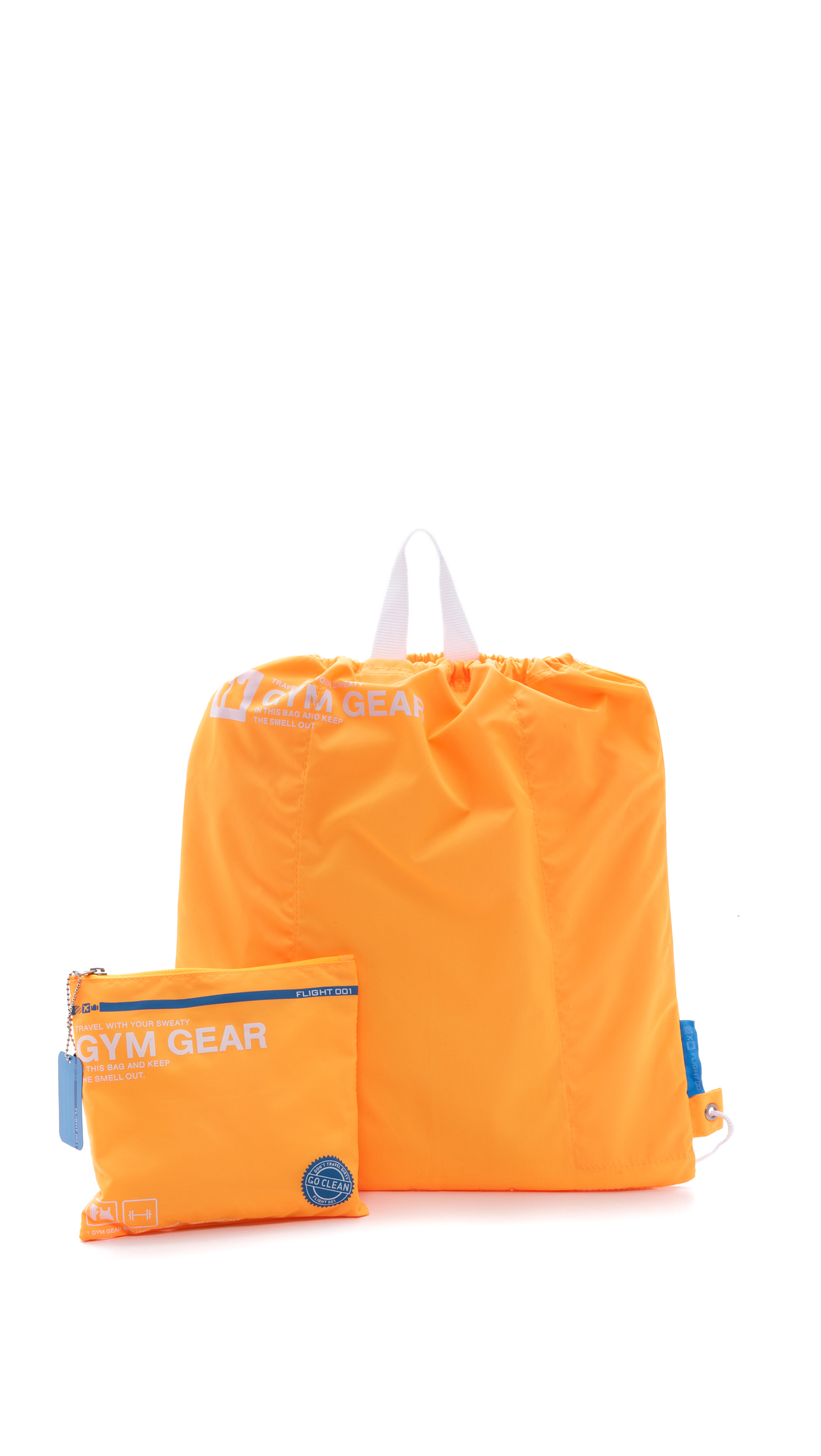 Designed to stash in a suitcase, this packable nylon bag is the perfect size to protect gym gear. Drawstring closure. Zip carrying pouch included. Fabric: Technical weave. Imported, China. COLOR: Neon Orange is brighter than it