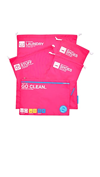 Flight 001 Go Clean Bag Set - Pink