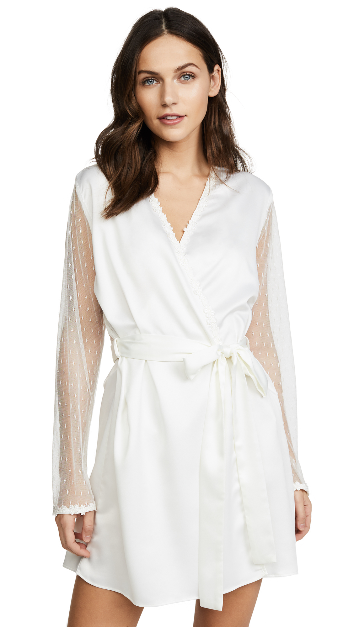 Flora Nikrooz Charmeuse Robe with Lace In Ivory