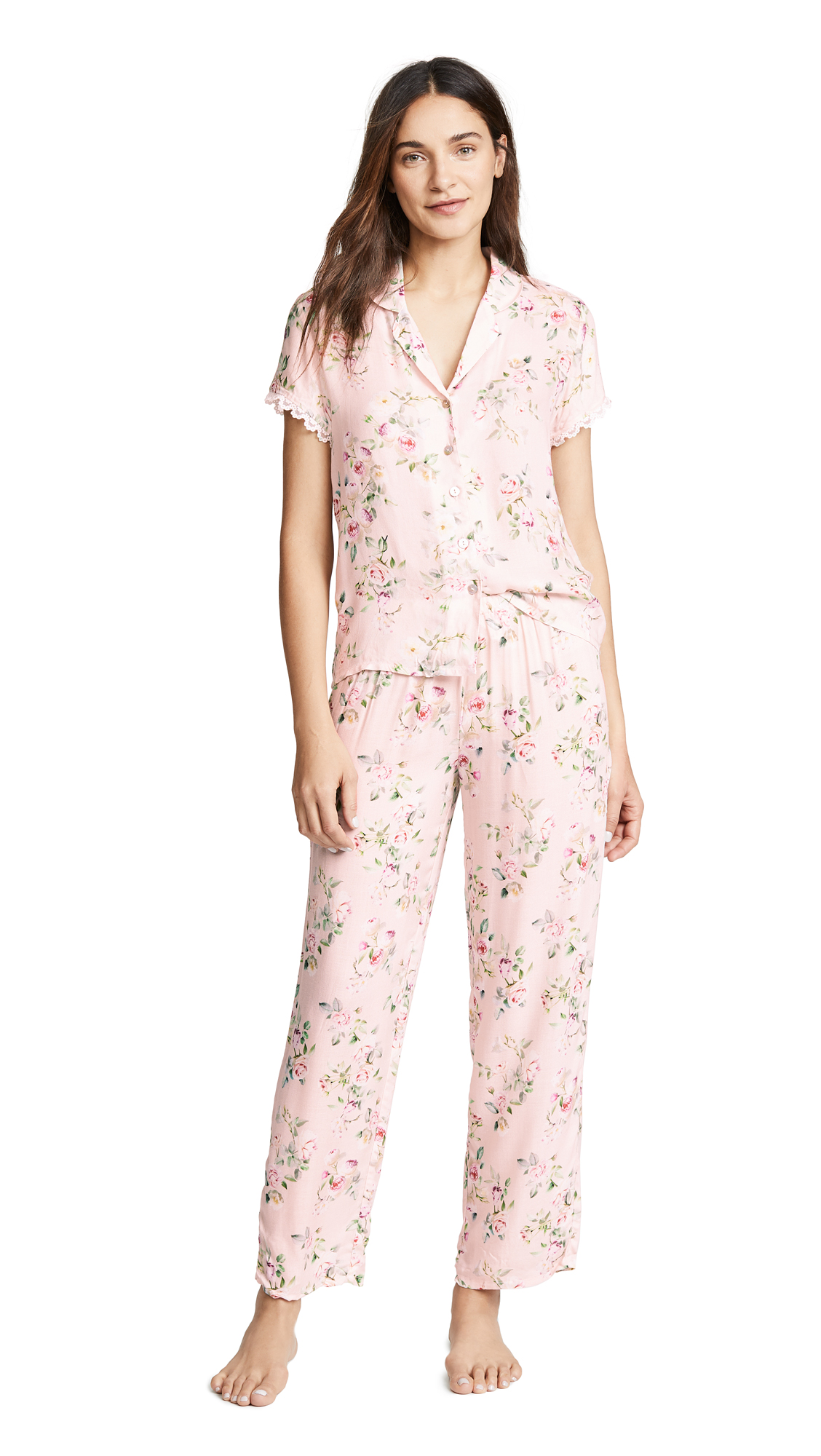 Flora Nikrooz Rose Printed PJ Set In Pink