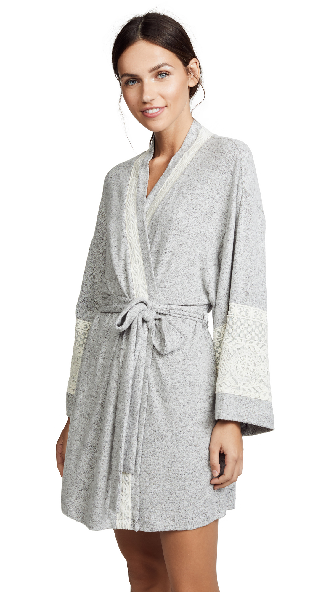 Flora Nikrooz Cozy Bruched Robe In Heather Grey