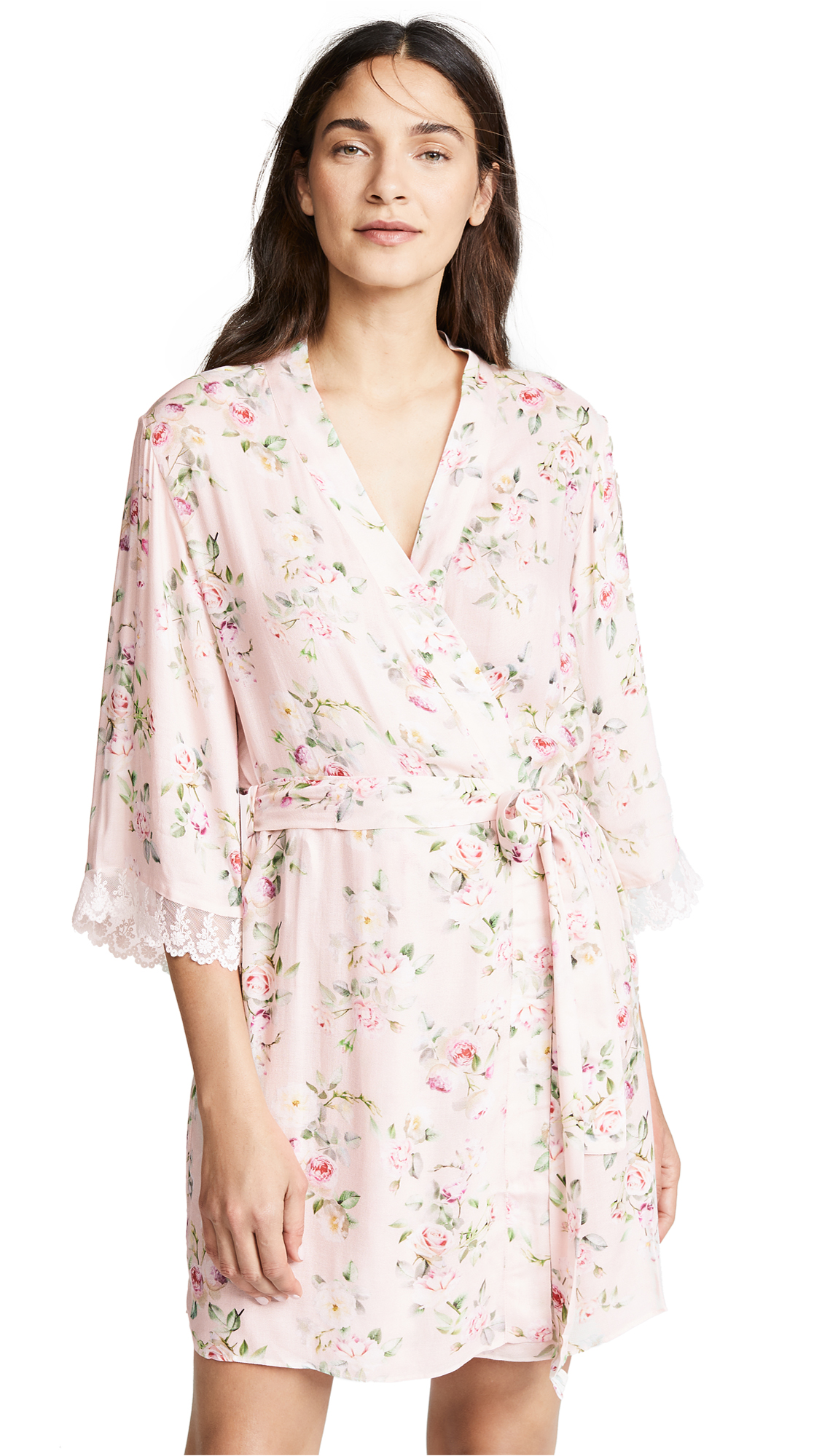 Flora Nikrooz Rose Printed Robe In Pink