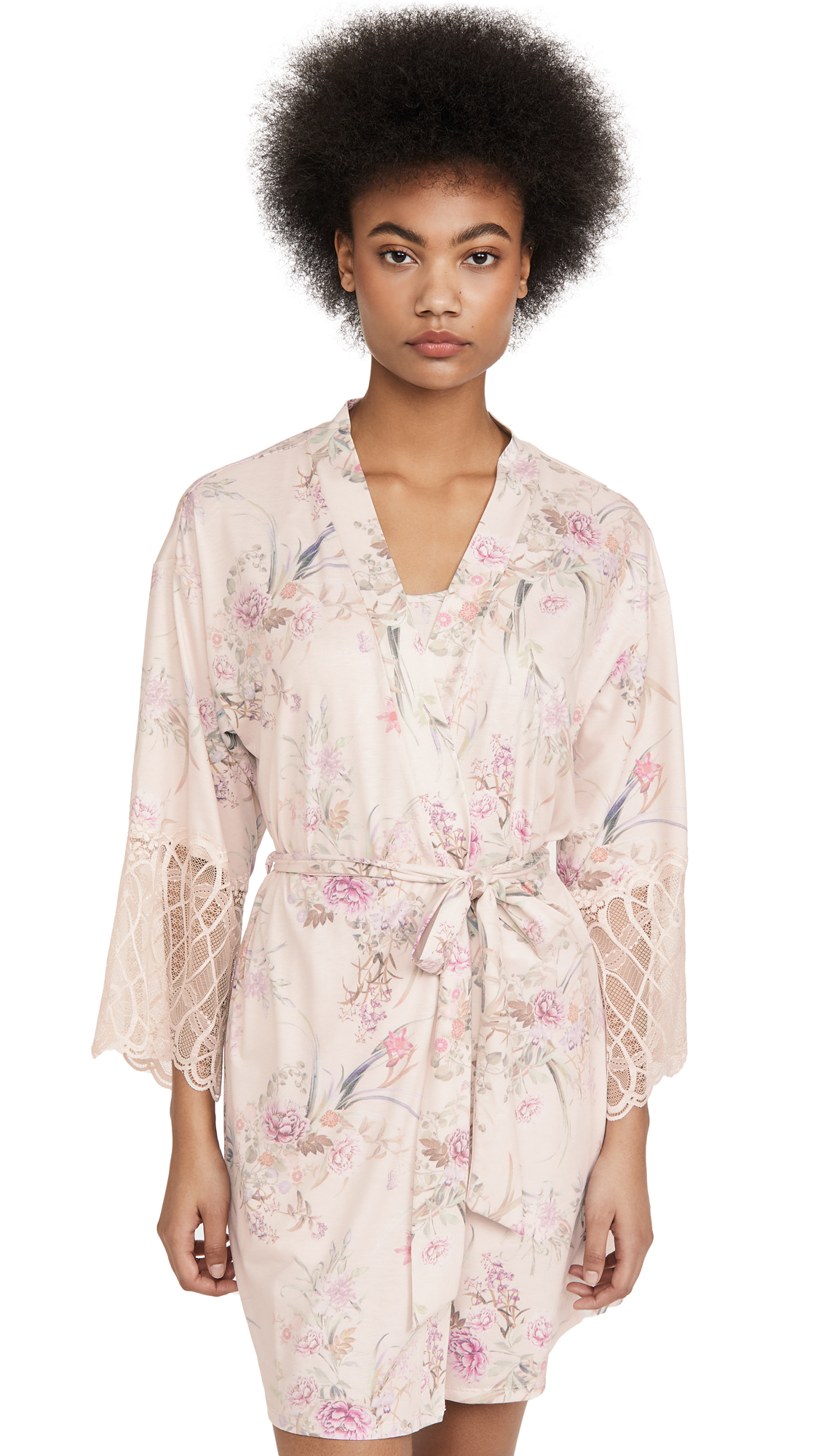 Buy Flora Nikrooz online - photo of Flora Nikrooz Jasmine Knit Wrap With Lace Trim