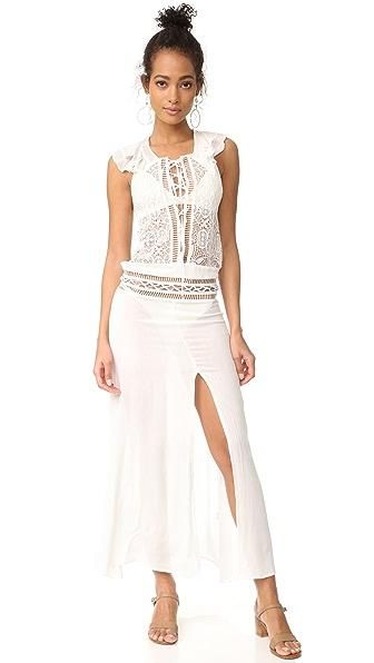 For Love & Lemons Martinique Maxi Dress In White