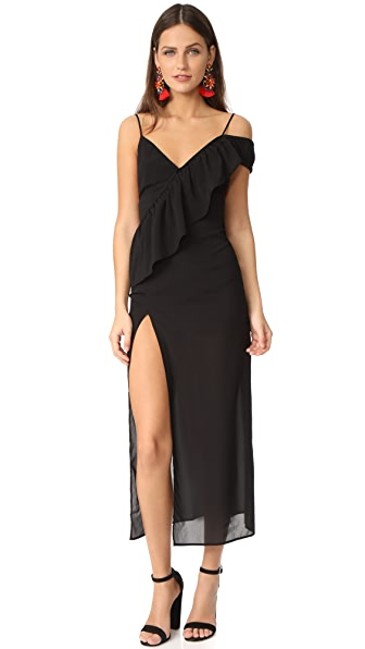 For Love & Lemons Flamenco Maxi Dress In Black