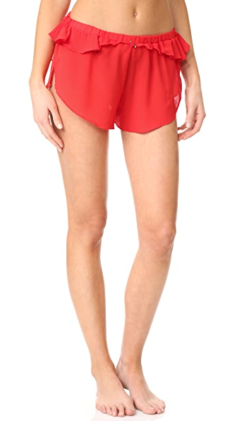 For Love & Lemons Little Rosette Sleep Shorts In Red Spice