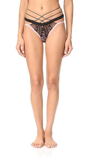 For Love & Lemons Azalea Embroidery Panties - Pink/Black