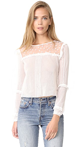 For Love & Lemons Cosmos Pintuck Blouse - White