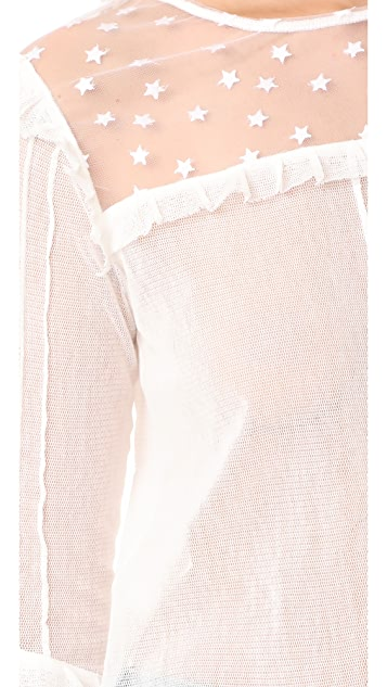 For Love & Lemons Cosmos Pintuck Blouse