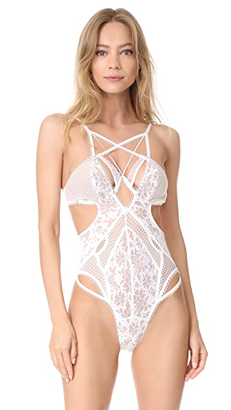For Love & Lemons Vega Bodysuit In Ivory