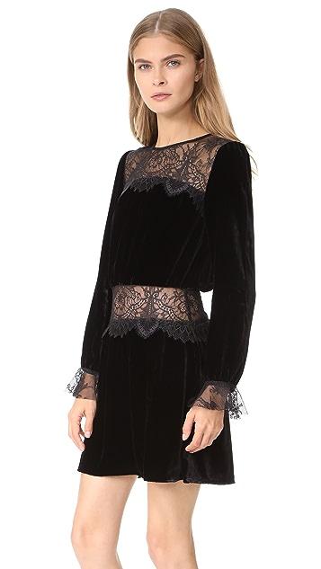 For Love & Lemons Beatrix Velvet Lace Dress