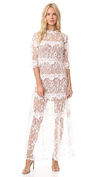 For Love & Lemons Rosebud Embroidery Maxi Dress