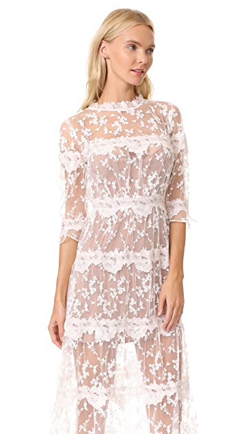 For Love & Lemons Rosebud Embroidery Maxi Dress
