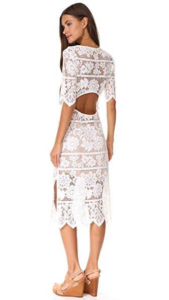 For Love & Lemons Lace Midi Dress with High Slit