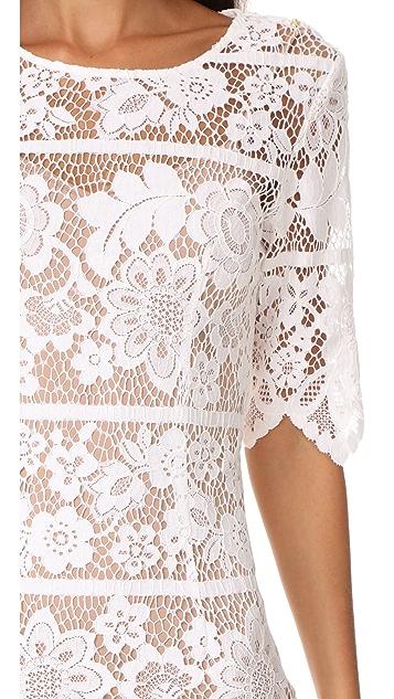 For Love & Lemons Lace Midi Dress with High Slit