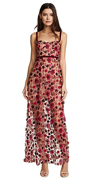 For Love & Lemons Beatrice Strappy Maxi Dress In Bouquet