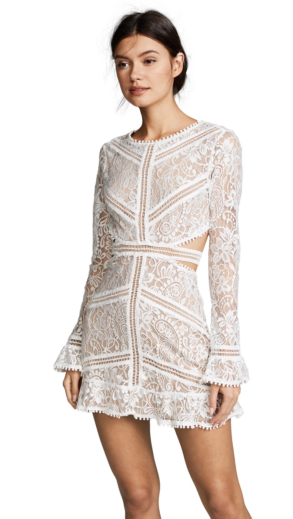 For Love & Lemons Emerie Cutout Dress In White