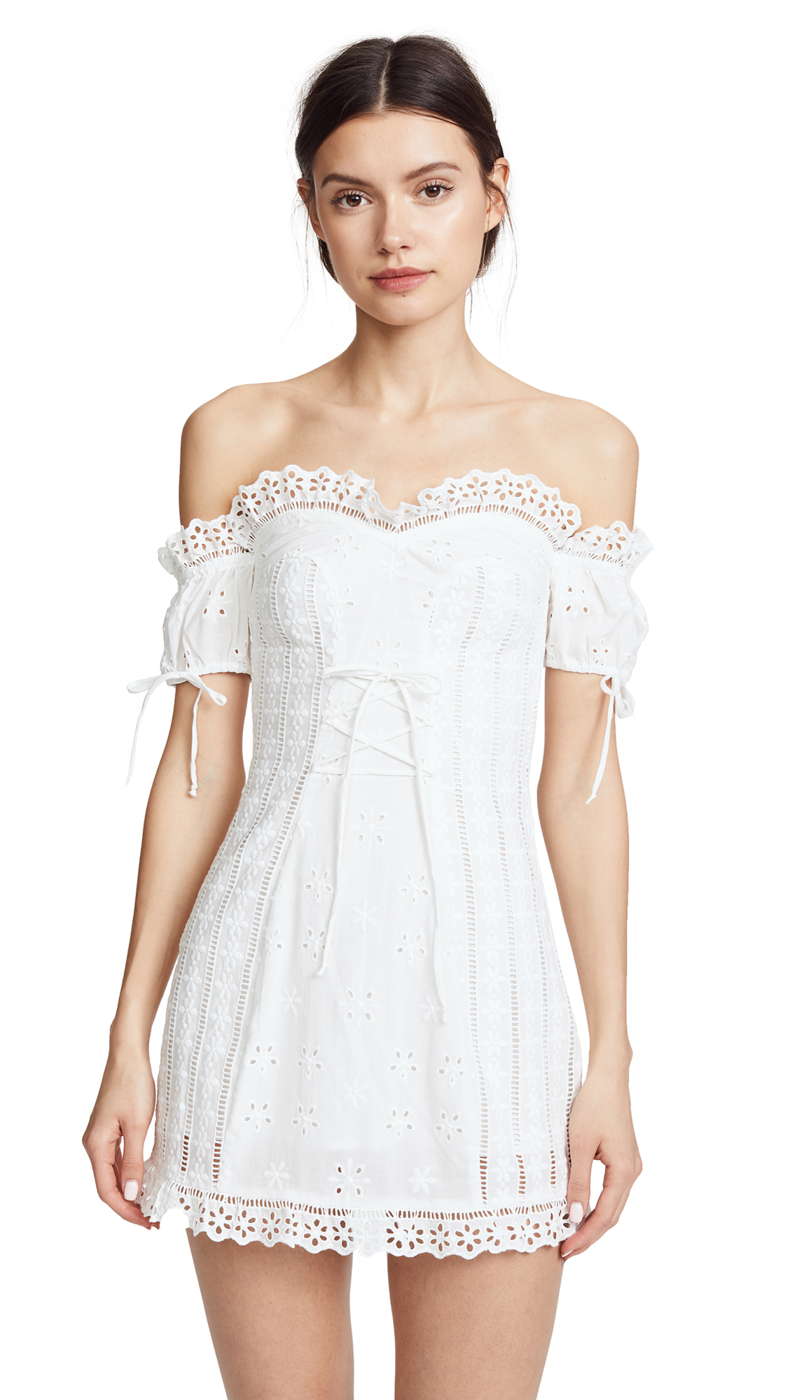 For Love & Lemons Anabella Eyelet Lace Up Dress In White