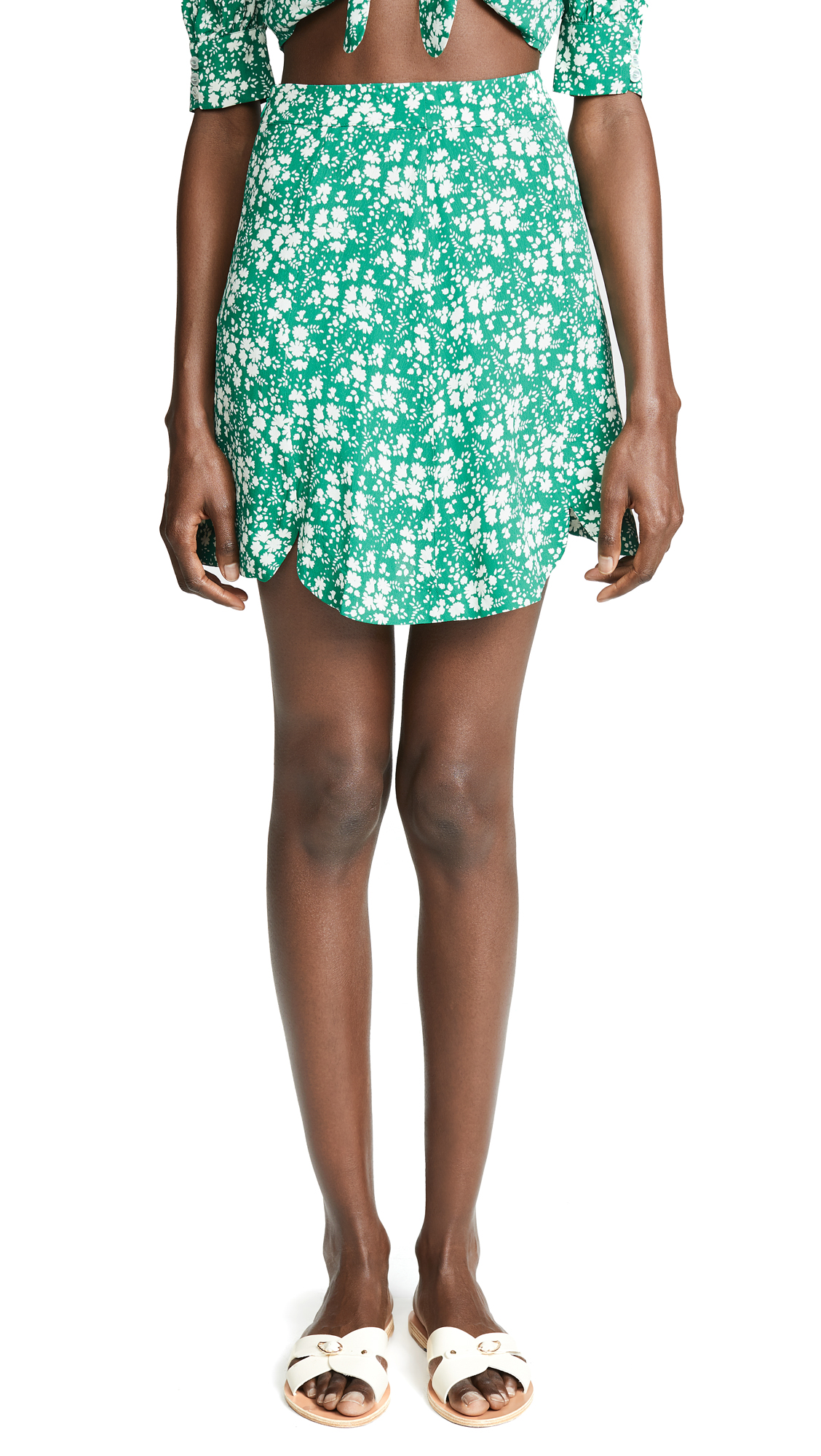 For Love & Lemons Zamira Floral Miniskirt In Kelly