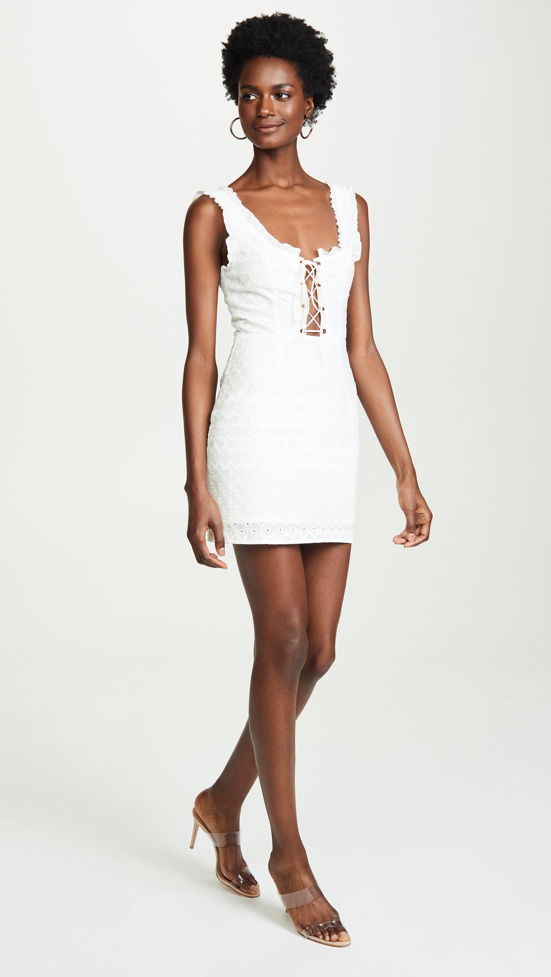29896da88d5 For Love   Lemons Charlotte Eyelet Lace Up Mini Dress