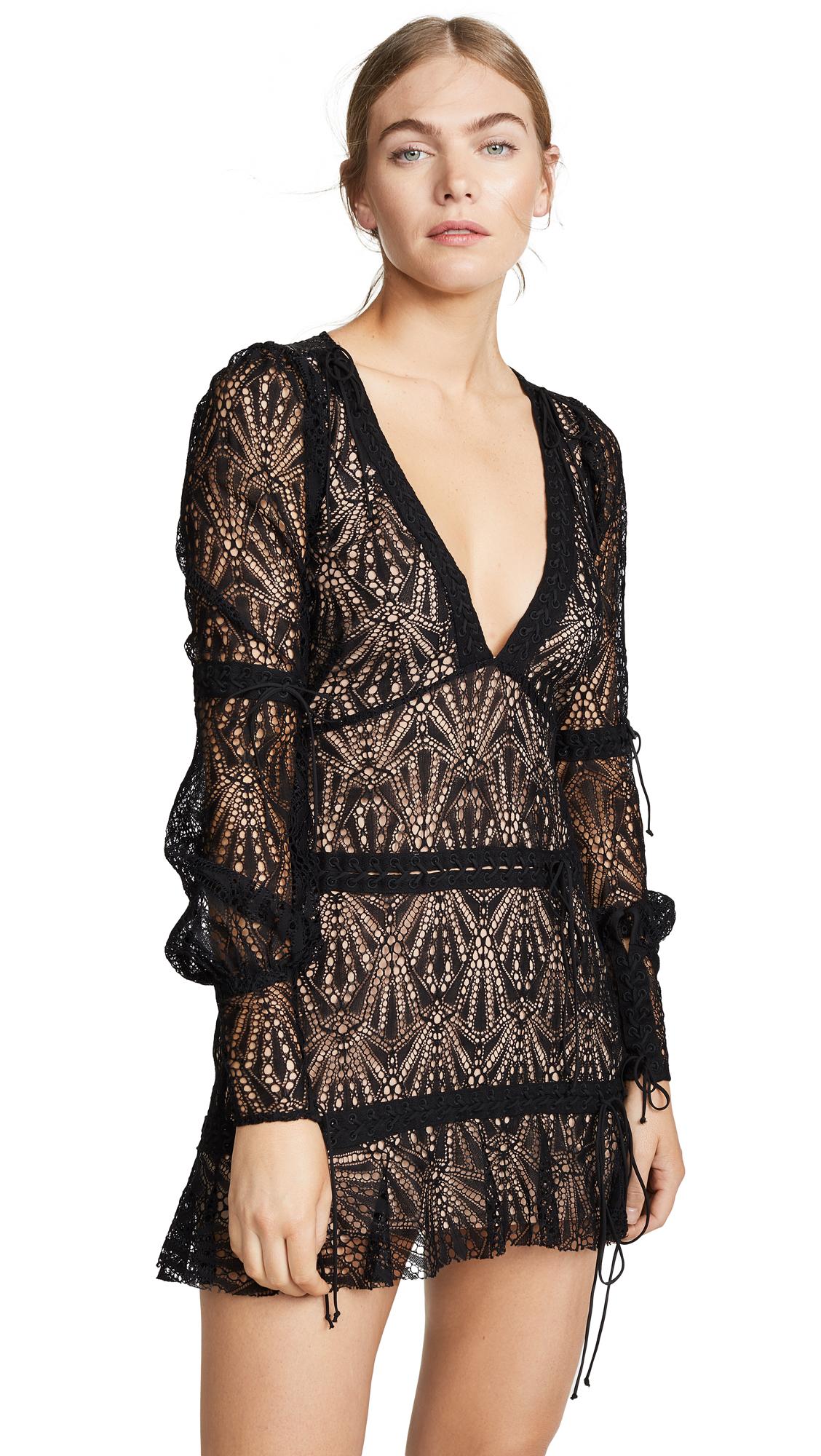 59795404465 For Love   Lemons Bright Lights Long Sleeve Mini Dress - Black