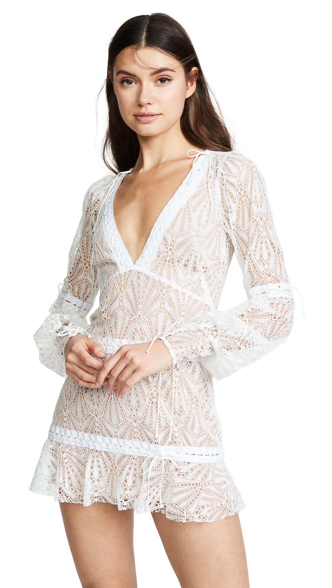 c7225bf0ad8 For Love   Lemons Bright Lights Long Sleeve Mini Dress - White