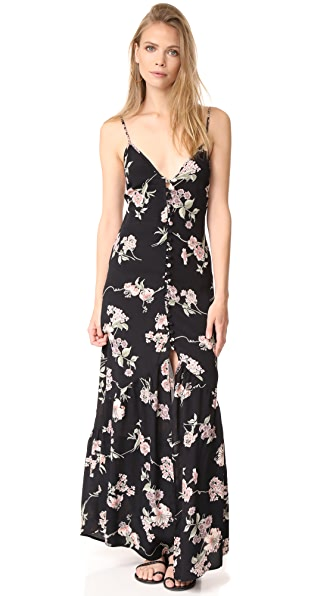 Flynn Skye Unbutton Me Fresh Dress In Black Botanical