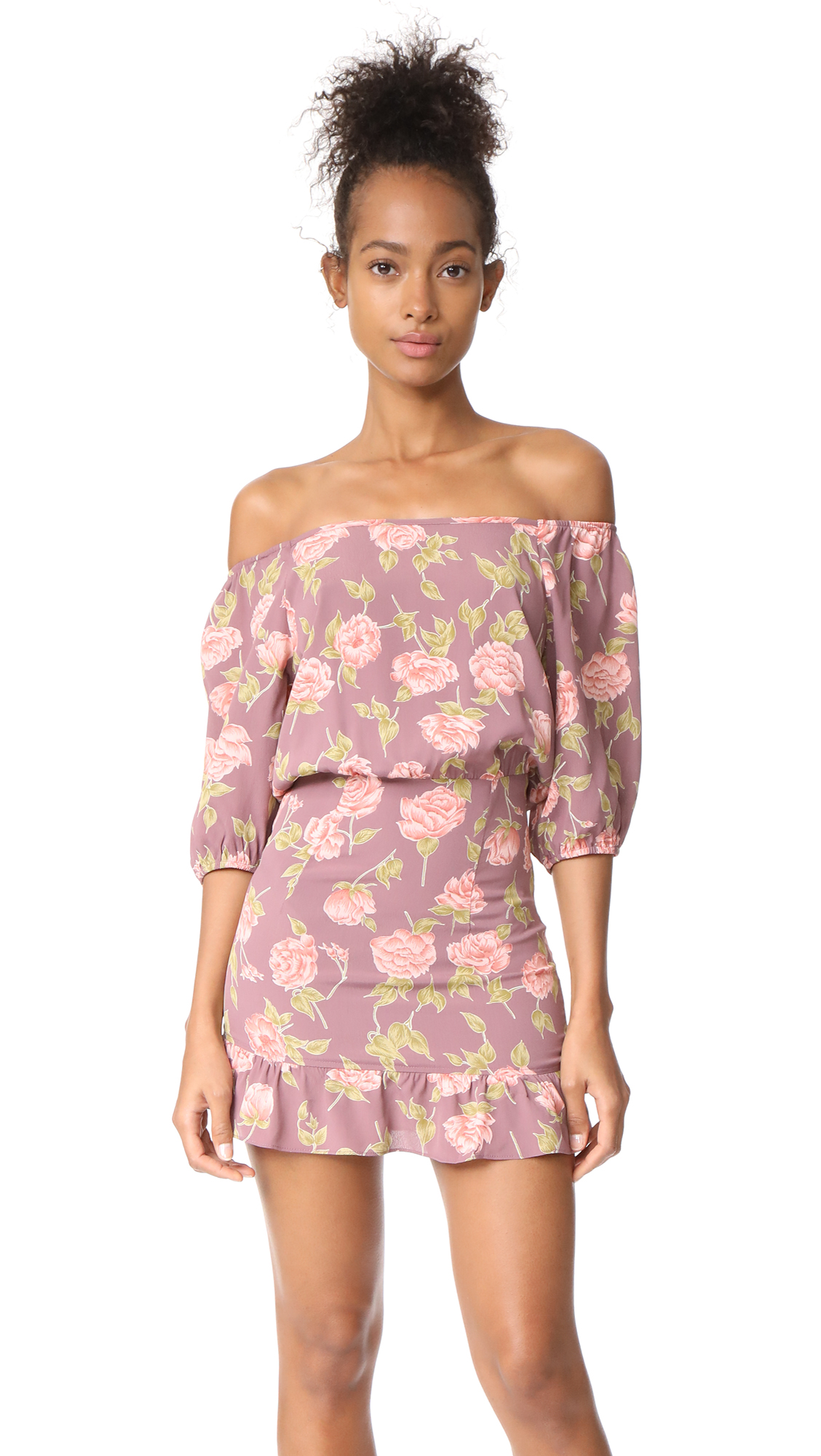 Flynn Skye Kristina Mini Dress In Mauve Blossoms