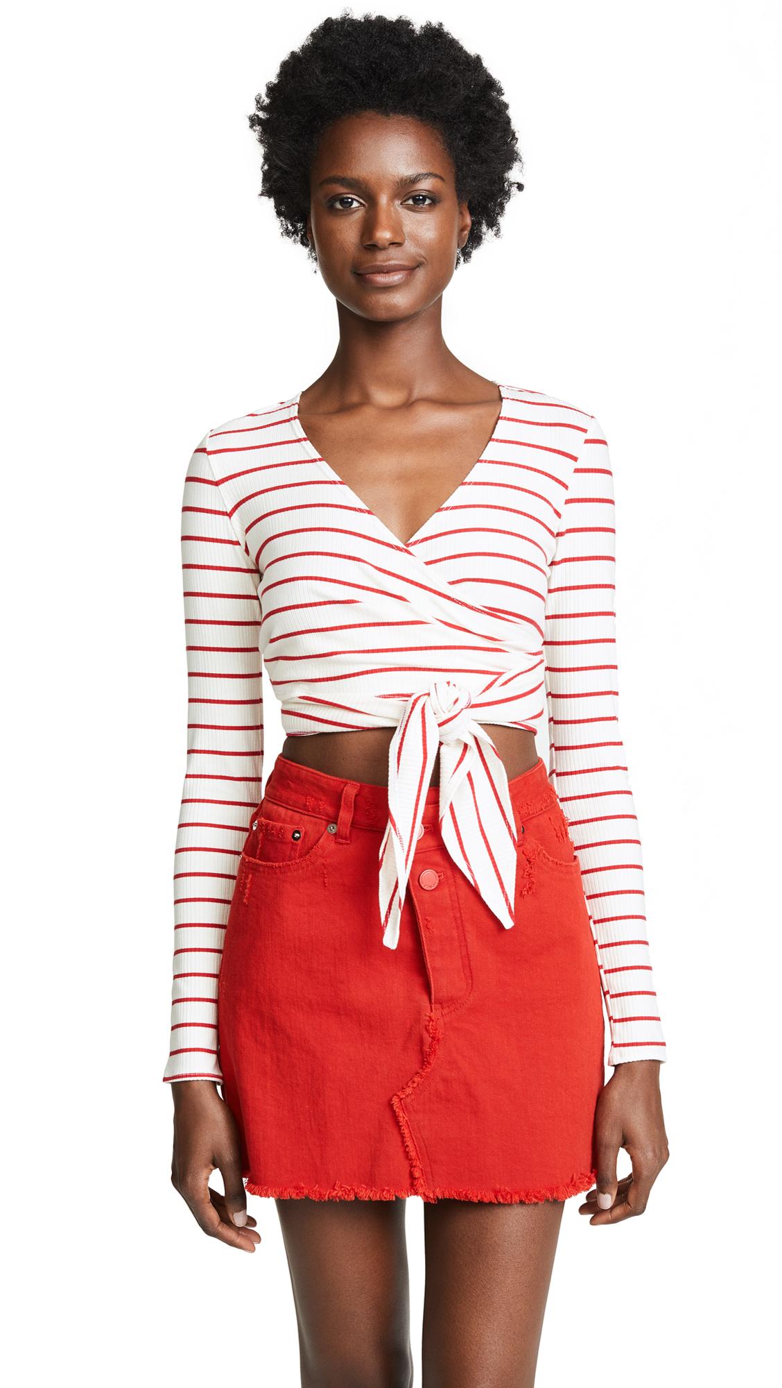 FLYNN SKYE Wrap Ribbed Top in Red Stripe Rib