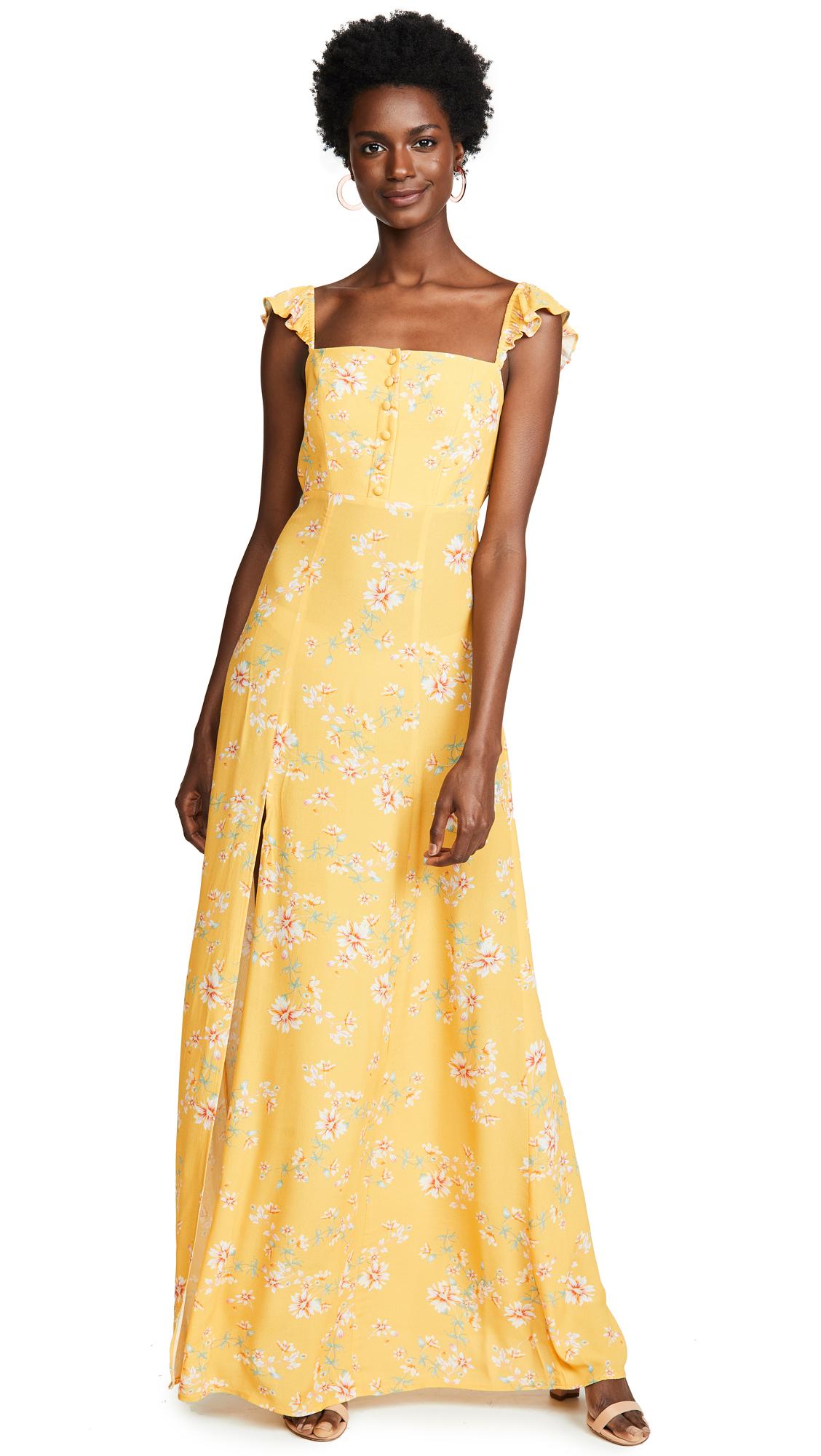 FLYNN SKYE Bardot Maxi Dress in Touch Of Honey