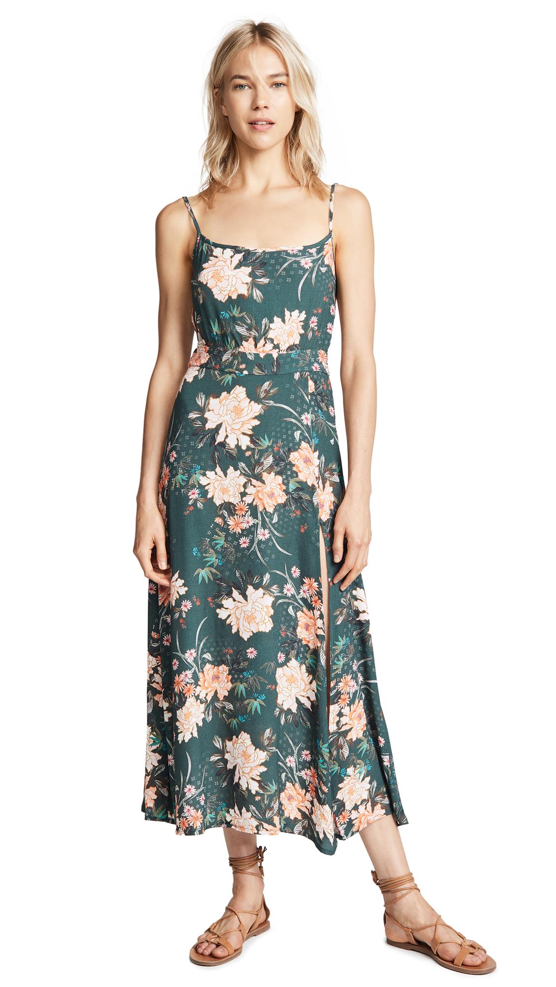 FLYNN SKYE Hazel Midi Dress in Abstract Emerald