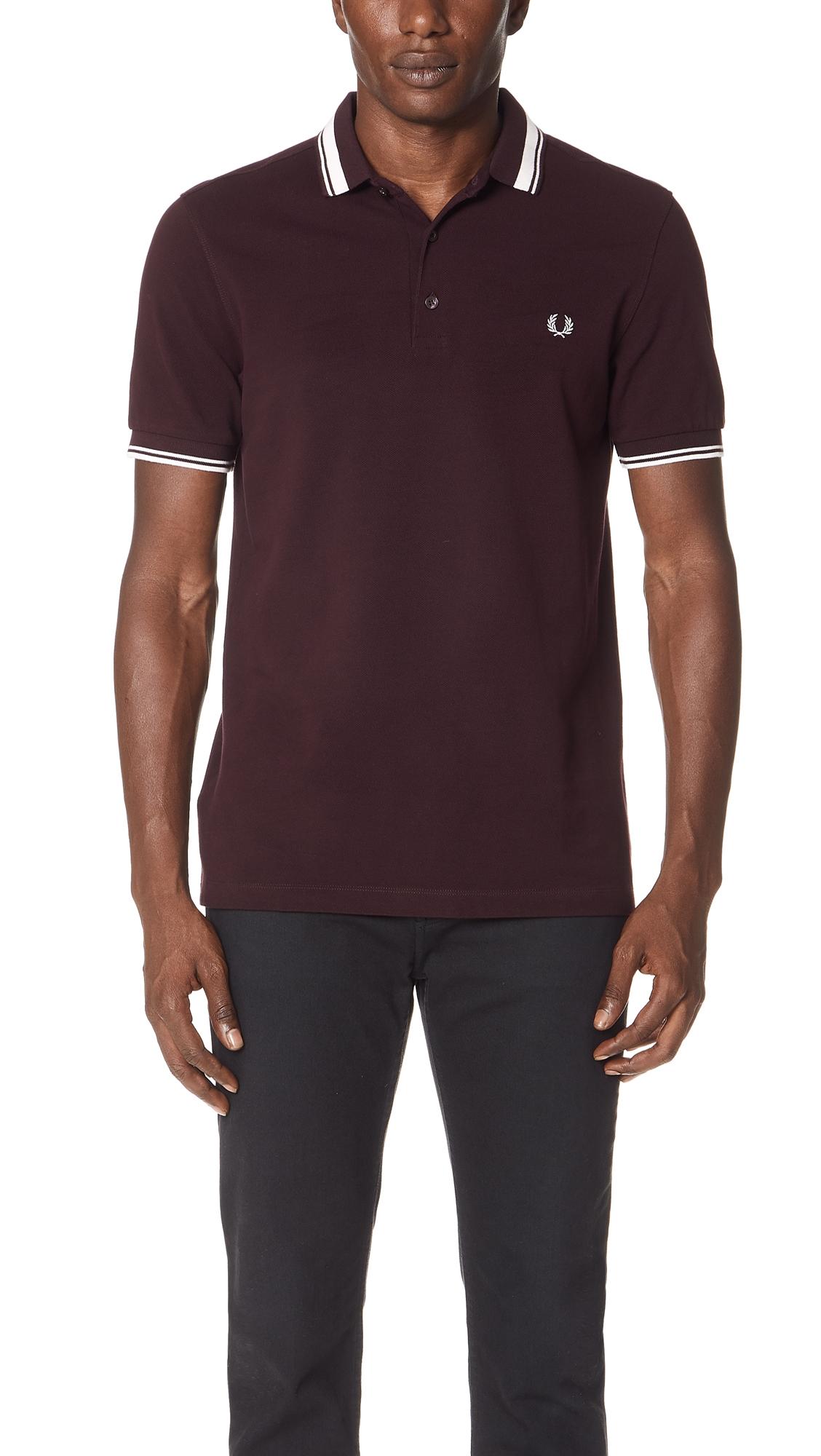 9d81c152e9 Contrast Tipped Polo Shirt, Deep Mahogany