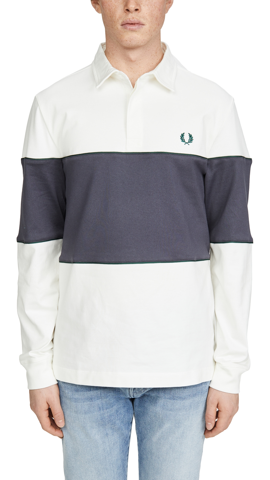 Fred Perry T-shirts PANELED LONG SLEEVE RUGBY SHIRT