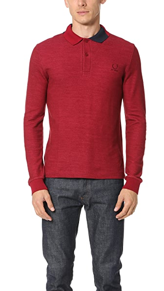 Fred Perry by Raf Simons Long Sleeve Abstract Collar Pique Polo