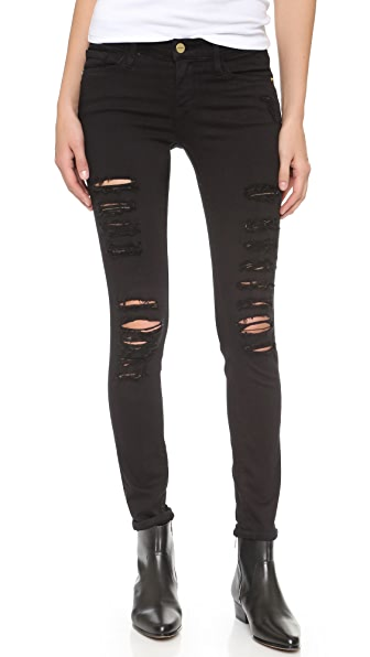 FRAME Le Color Rip Skinny Jeans In Film Noir