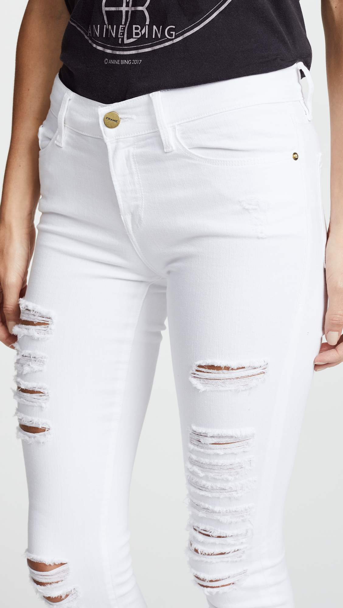 FRAME Le Color Rip Skinny Jeans | SHOPBOP