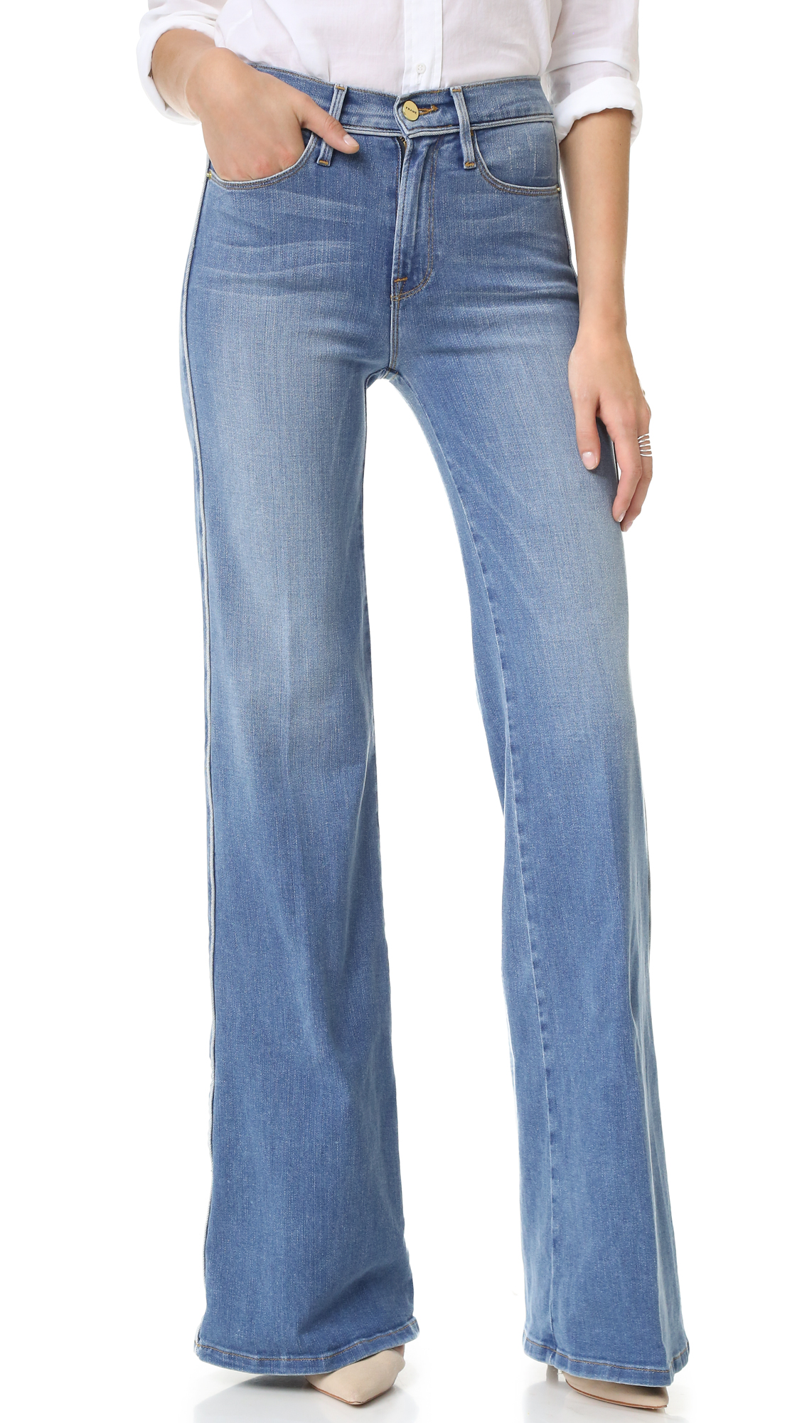 FRAME Le Capri Piping Wide Leg Jeans | SHOPBOP