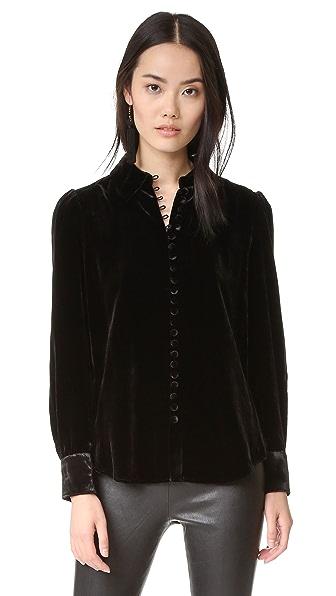 FRAME Velvet Victorian Button Up Blouse