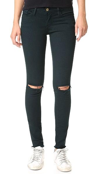 FRAME Le Skinny de Jeanne Raw Edge Jeans - Hunter Rips