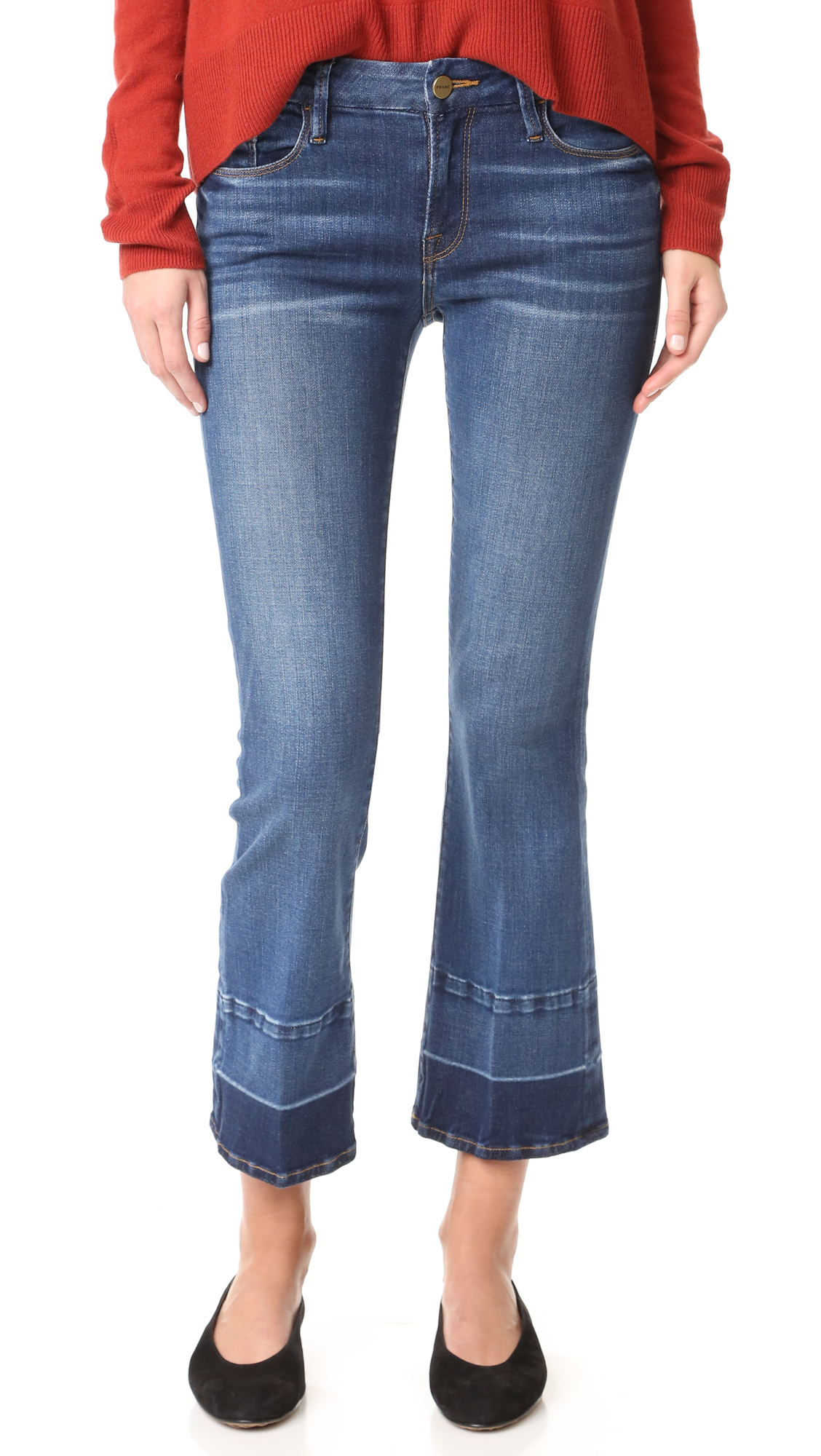 Soft stretch denim lends a curve conforming fit to these ankle length FRAME jeans. Light whisking lends worn appeal. 5 pocket styling. Button closure and zip fly. Fabric: Strech denim. 92.5% cotton/6% polyester/1.5% elastane. Wash cold. Made in