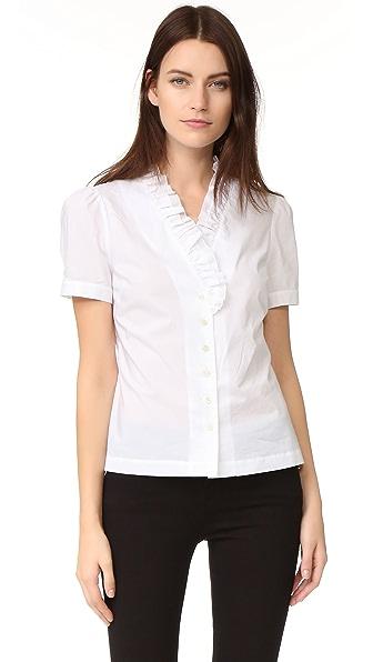 FRAME Блуза с оборками на вырезе