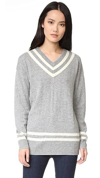 FRAME Varsity V Neck Sweater - Gris & Blanc