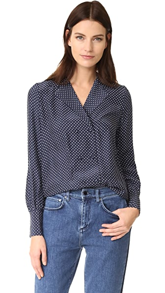 FRAME Sgt. Pepper Blouse - Navy Polka Dot