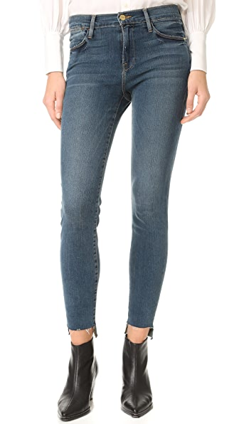 FRAME Le High Skinny Raw Stagger Jeans - Woodhaven