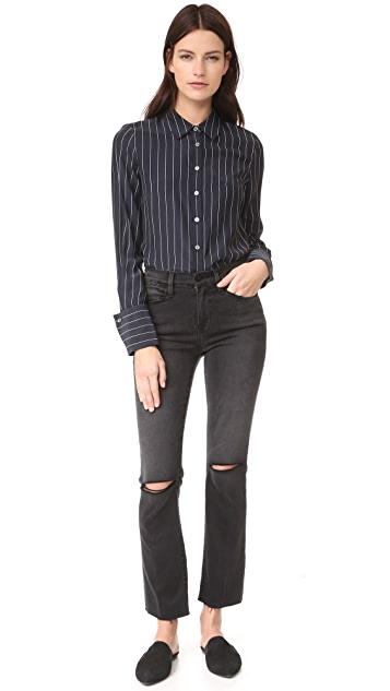 FRAME Le High Straight Raw Edge Jeans